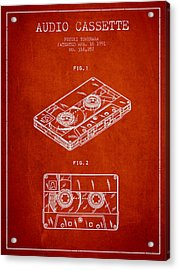 Audio Cassette Patent From 1991 - Red Acrylic Print by Aged Pixel