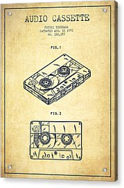 Audio Cassette Patent From 1991 - Vintage Acrylic Print by Aged Pixel