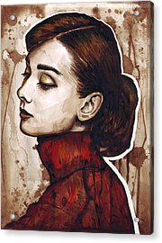 Audrey Hepburn Acrylic Print by Olga Shvartsur