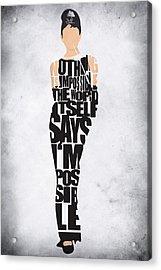 Audrey Hepburn Typography Poster Acrylic Print by Ayse Deniz
