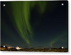 Aurora Borealis Over Iceland Acrylic Print by Andres Leon