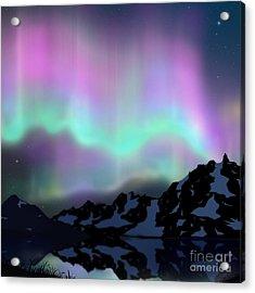 Aurora Over Lake Acrylic Print by Atiketta Sangasaeng