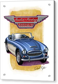 Austin Healey 3000 Blue-white Acrylic Print by David Kyte