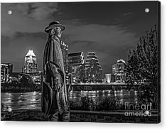 Austin Skyline With Stevie Vaughan Statue Acrylic Print by Tod and Cynthia Grubbs