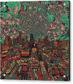 Austin Texas Vintage Panorama 3 Acrylic Print by Bekim Art