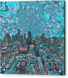 Austin Texas Vintage Panorama 4 Acrylic Print by Bekim Art