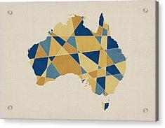 Australia Geometric Retro Map Acrylic Print by Michael Tompsett