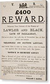 Australian Reward Poster, 1854 Acrylic Print by Australian School