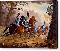 Austrian Hussars In Pursuit Acrylic Print by Conrad Gessner