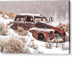 Auto In Snowstorm Acrylic Print by Sue Smith