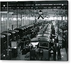 Automobile Factory Workers Acrylic Print by Retro Images Archive