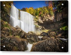Fall Colors At The Waterfall Acrylic Print by Waterfall Images by Mike Goodwin