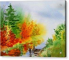 Autumn Burst Of Fall Impressionism Acrylic Print by Irina Sztukowski