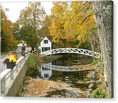 Autumn Colors At Somesville Bridge Mount Desert Island Maine Acrylic Print by Lena Hatch