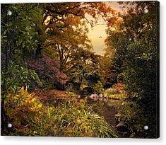 Autumn Garden Sunset Acrylic Print by Jessica Jenney