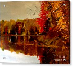 Fall Trees Reflected On Lake Acrylic Print by Lisa Alex Gray