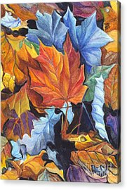 Autumn Leaves Of Red And Gold Acrylic Print by Carol Wisniewski