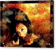 Autumn Leaves Whirling Acrylic Print by Gun Legler