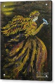 Autumn Moon Angel Acrylic Print by Carla Carson