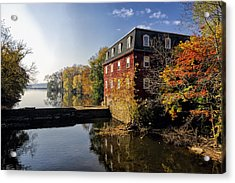 Autumn Morning At The Kingston Mill Acrylic Print by George Oze