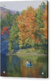 Autumn On The Lake Acrylic Print by Marna Edwards Flavell