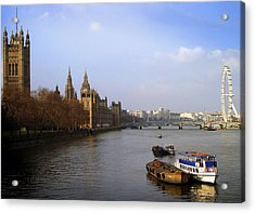 Autumn On The Thames    Acrylic Print by Stephen Norris