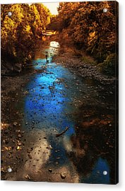 Autumn Reflections On The Tributary Acrylic Print by Thomas Woolworth