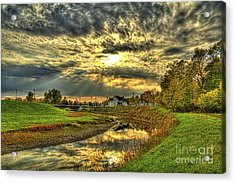 Autumn Sunset Reflection Acrylic Print by Jim Lepard