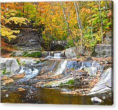 Autumn Waterfall Acrylic Print by Frozen in Time Fine Art Photography