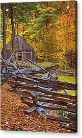 Autumn Wooden Fence Acrylic Print by Joann Vitali