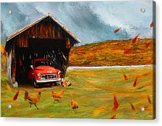 Autumnal Restful View-farm Scene Paintings Acrylic Print by Lourry Legarde