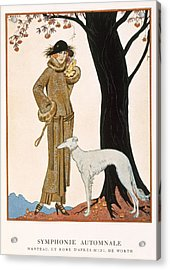 Autumnal Symphony Afternoon Coat And Dress By Worth Acrylic Print by Georges Barbier