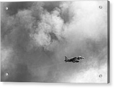 Av-8b Harrier Flies Through The Smoke Of War Acrylic Print by Peter Tellone