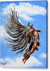 Aztec Warrior Acrylic Print by Ruben Duran