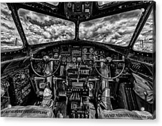 B-17 Cockpit Acrylic Print by Mike Burgquist
