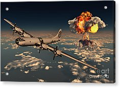 B-29 Superfortress Flying Away Acrylic Print by Mark Stevenson