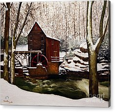 Babcock Mill In The Snow Acrylic Print by Timothy Smith