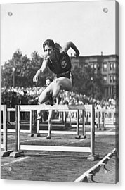 Babe Didrikson High Hurdles Acrylic Print by Underwood Archives