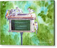 Baby Blues - Eastern Bluebird Family Acrylic Print by Kathryn Duncan