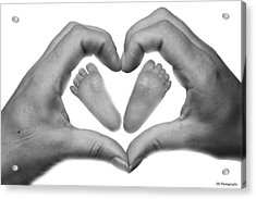 Baby Feet In Mothers Hand Acrylic Print by Jay Harrison