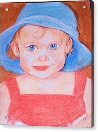 Baby In Blue Hat Acrylic Print by Christy Saunders Church