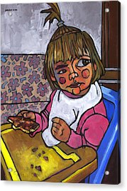 Baby With Pizza Acrylic Print by Douglas Simonson