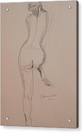 Back Of Nude With Foot Up Acrylic Print by Esther Newman-Cohen