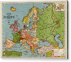 Bacon's Standard Map Of Europe - Circa 1920 Acrylic Print by Blue Monocle