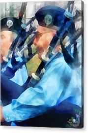 Bagpiper Closeup Acrylic Print by Susan Savad