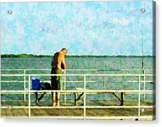 Baiting The Hook Acrylic Print by Florene Welebny