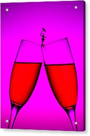 Balance On Red Wine Cups Little People On Food Acrylic Print by Paul Ge