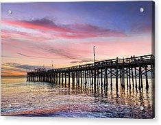 Balboa Pier Sunset Acrylic Print by Kelley King