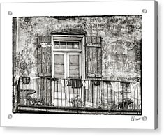 Balcony View In Black And White Acrylic Print by Brenda Bryant