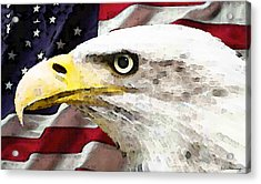 Bald Eagle Art - Old Glory - American Flag Acrylic Print by Sharon Cummings